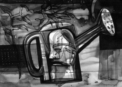 "Naba Kumar Chakrabarty Untitled-18 Ink on acid free paper (Canson)) 11"" x 15"""