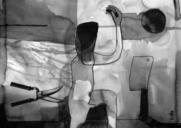 """Naba Kumar Chakrabarty Untitled-23 Ink on acid free paper (Cartridge)) 9"""" x 12"""" 2016"""
