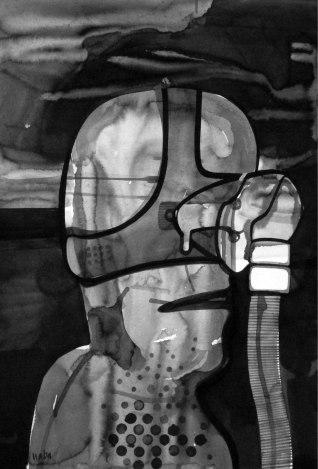 "Naba Kumar Chakrabarty Untitled-33 Ink on acid free paper (Fabriano) 22"" x 15"" 2016"