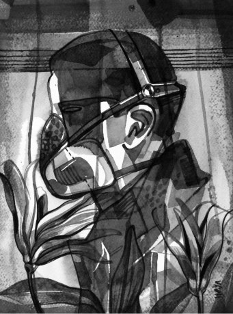 "Naba Kumar Chakrabarty Untitled-37 Ink on acid free paper (Fabriano) 12.5"" x 9.5"" 2016"