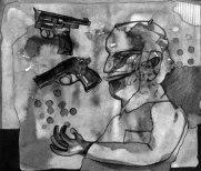 """Naba Kumar Chakrabarty Untitled-9 Ink on acid free paper (Cartridge) 10.5"""" x 9"""" 2016"""